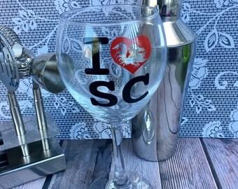 I Love SC Wine Glass - Personalized Wine Glass