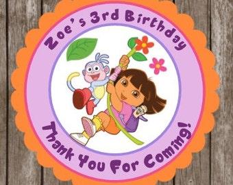 Dora the Explorer Birthday Stickers   Dora Thank You Stickers