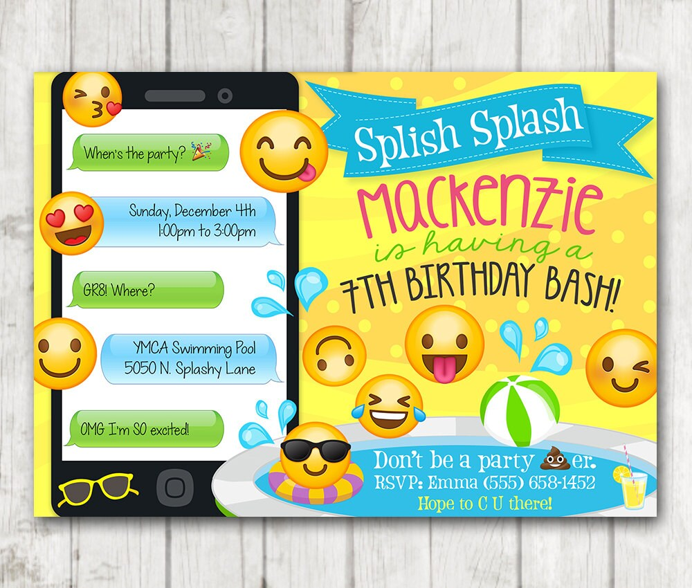 Printable Emoji Pool Party Party Invitation Swim Party Emoji
