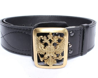 Russian army General belt with double eagle buckle the emblem of RF
