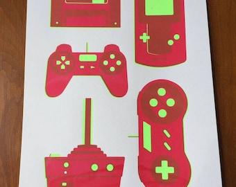 Hand Screen Printed Retro Gaming Art Print