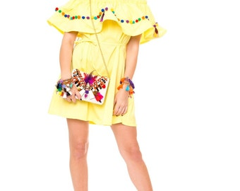 Pompon boho dress Yellow