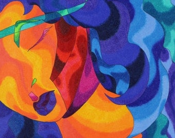 """Ink and Colored Pencil abstract print.  """"Blue Angel"""""""