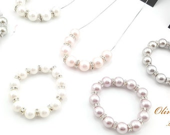 OLIVIA MARANT Limited Edition  For JAPAN Earthquake Relief Fund, Elizabeth Sea Shell Pearl Beads In White Set