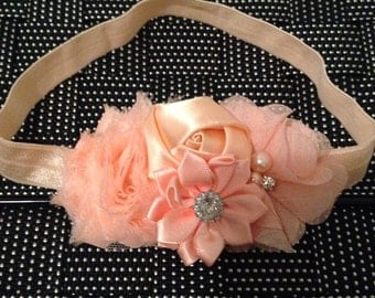 baby flower head band--shabby chic headbands--baby girl headbands