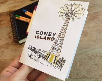 Coney Island NYC Notecards - set of blank cards with envelopes