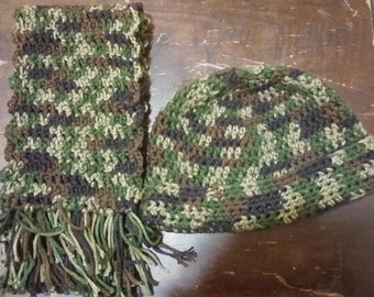 Camouflage Hat and Scarf