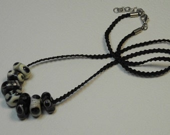 Necklace, ras neck Ribbon braided Mokuba, chocolate, with 7 glass beads square, decorated with points, black, ivory, PuTTY, dregs of wine