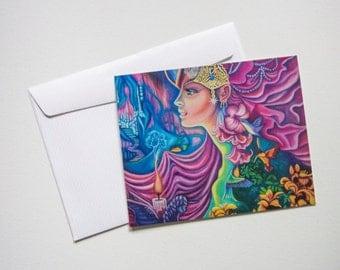 """Blank Greeting Cards - Acrylic Goddes Fairy 5"""" by 6"""" Art by Breanna Deis"""