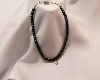 Black Beaded Rhinestone Accented Anklet