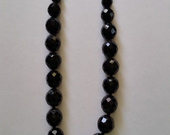 Black faceted glass bead necklace