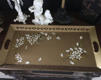 Antique Metal Tray-Floral