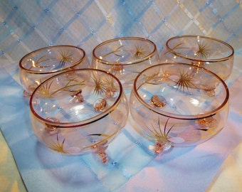 Vintage 3-Footed Pale Pink Glass Dessert Bowls - Set 5