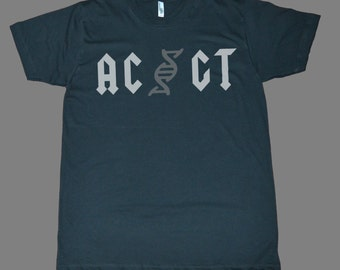 AC GT Biology DNA Novelty Funny Gift printed on American Apparel black t-shirt men women tshirt tank tops S-5XL