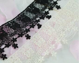 "5 yard 5cm 1.96"" wide black/ivory embroidery lace trim trims ribbon L22K203 free ship"
