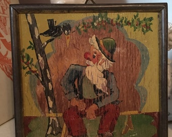 Folk Art Painting on Wood Hobo w Bird