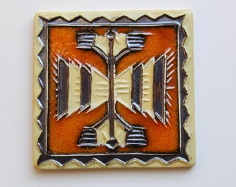 Ceramic Tiles, Acsent Tiles, Handmade Decorative Tiles, Orange Tile with Black and White decoration, MODEL-TCd-004