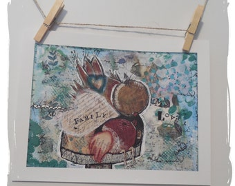 Mixed Media Art print/birds/family/love