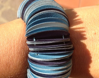 Bracelet from the various shades of blue cardstock circles, hand-made craft giaielli gift for her