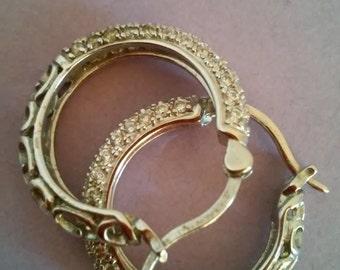 Vintage Sterling Silver and Rhinestone Hoop Earrings