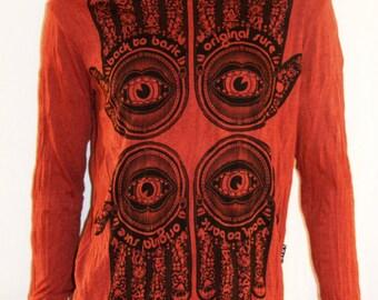 SURE, T-Shirt, Hand of Fatima, Hamsa, Ethnic, Red, Cotton, Long Sleeve, Men's T-Shirt, Size M, Maglia, Manica Lunga, Rosso Mattone, Taglia M
