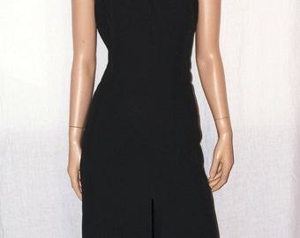 Vintage Black Dress, Handmade, Stylish Black Maxi Dress, Size M/L, Vintage ' 80, Gold Decorations, elegant black Gown Decorated Sz 46