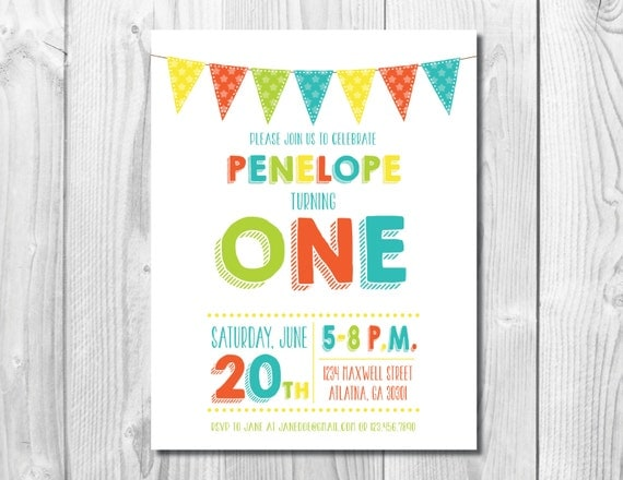 Any Age Birthday Party Invitation >> First Birthday Invite >> 1st >> Orange, Green, Yellow, Teal Banner >>  Custom Printable Digital File