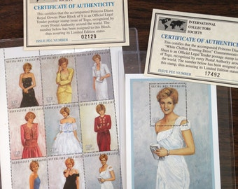 Princess Diana Royal Gowns Stamps Mint Condition 1980's (5) lot