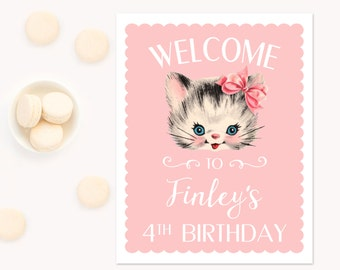 Pink Girls Welcome Party Sign, Pink and Aqua Birthday Party, Kitten Birthday, Cat Birthday, Kitty Cat Birthday, Shabby Chic vintage kitty