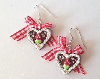 Earrings Gingerbread-heart red