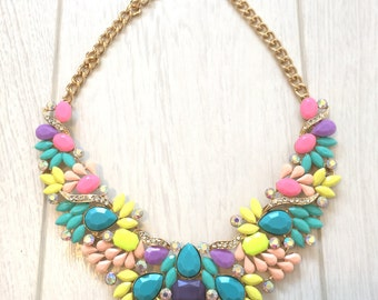 Beautiful pastel coloured statement necklace