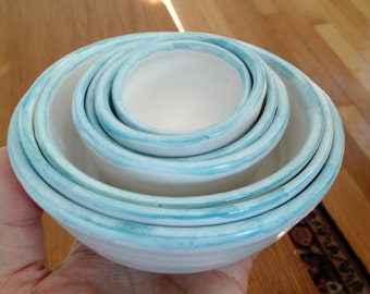 Made to order handmade nested kitchen prep bowls