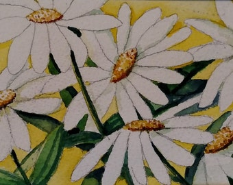 Original watercolor artwork, Daisies