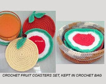 Crochet Fruit Coasters set , 4 crochet coasters in crochet bag, crochetgift, housewares crochet coasters
