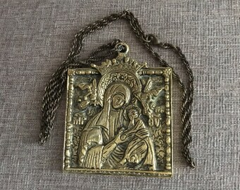 Antique Victorian Solid Brass Mother & Child Plaque - of Religious Significance C1890