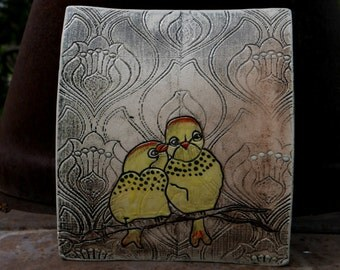 Yellow lovebirds wall hanging