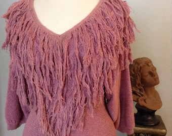 Vintage 1980's Rose Pink Cotton and Silk Fringe Sweater---Free shipping to USA