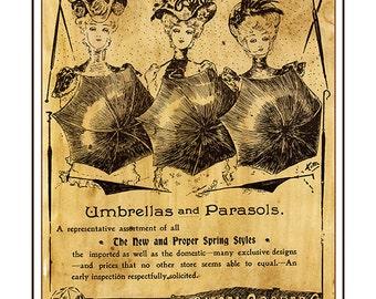 Vintage Ad Poster   Illustrative Print Art   The Three Umbrellas   PRINTED IN CANADA