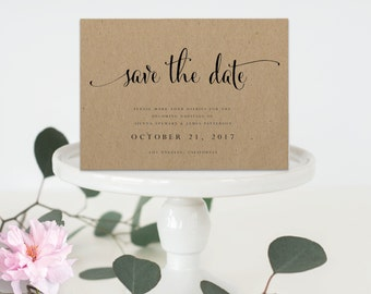 Instant Download printable save the date-editable PDF DIY save the date template-digital calligraphy printable save the date-#SN004_STD