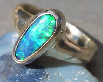 Opal Ring Jewelry Sterling Silver 925 Queensland Australian Opal Doublet Free Shipping DR70