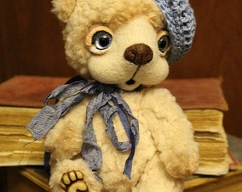 6.6 Inch Teddy Bear Monica in a Blue Beret  - Ready to ship