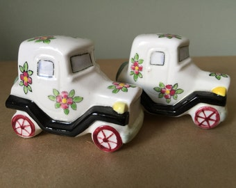 Salt & Pepper Shakers Made in Japan Floral Decorated Cars