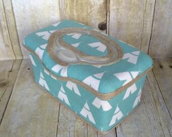 Blue tepee baby wipe case, flip top, diaper bag, diaper bag, baby shower gift, wipe case