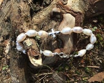 Potato Pearl Bracelet with Cross