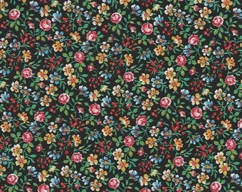 Country Florals on black Background 100% cotton