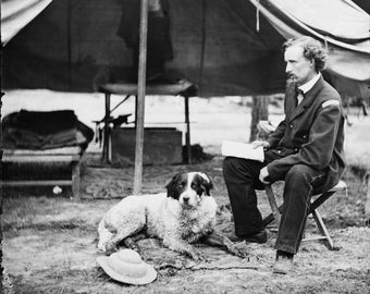 The Peninsula, Va. Lt. George A. Custer with dog Antique Old Vintage Reproduction Photo Print