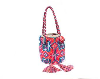 Ethnic Shoulder Bag, Tassel bag, Pink Bucket Bag, Tassel HandBag, Colorful Bag, Multicolor, Ethnic Bag, Messenger Bag, Bucket bag, boho
