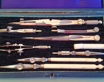 Ivory Handled Drafting instruments for Architecture, Engineering and Surveying