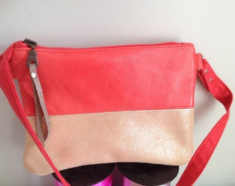 small coral glitter leather bag