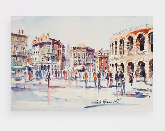 Verona watercolor print 4x6 inches signed